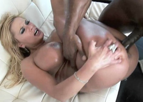 Busty blonde Shyla takes some black dick