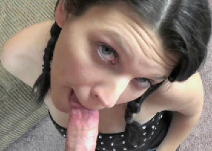 Oral coed Brianna swallows a stiff cock
